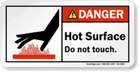 Hot Surface Do Not Touch ANSI Danger Label
