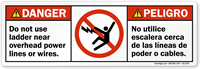 Do Not Use Ladder Near Overhead Lines Label