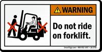 Do Not Ride On Forklift Warning Label
