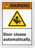 Door Closes Automatically ANSI Warning Label