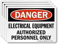 Electrical Equipment, Authorized Personnel Only OSHA Danger Label