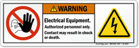Electrical Equipment Authorized Personnel Only Warning Label
