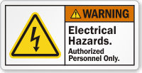 Electrical Hazards Authorized Personnel Bolt Symbol Label
