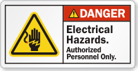 Electrical Hazards Authorized Personnel Only ANSI Danger Label