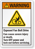 Exposed Fan Belt Drive Can Cause Injury Label