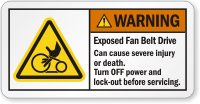 Exposed Fan Belt Drive Cause Injury Warning Label