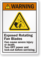 Exposed Rotating Fan Blades Cause Injury Warning Label
