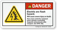 Arc Flash Hazard Wear Protective Equipment Label