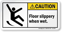 Floor Slippery When Wet ANSI Caution Label
