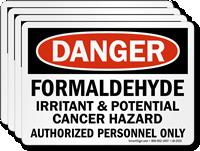 Formaldehyde Irritant & Potential Cancer Hazard Danger Label
