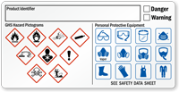 Write-On GHS and PPE Required Combo Label