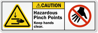 Hazardous Pinch Points Keep Hands Clear Label