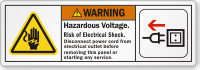 Hazardous Voltage Disconnect Power Cord ANSI Warning Label