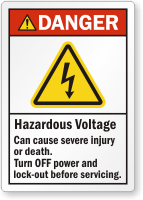 Hazardous Voltage Can Cause Severe Injury Warning Label