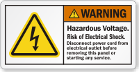 Hazardous Voltage Risk Of Electric Shock Warning Label