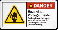 Hazardous Voltage Inside Discharge All Devices Danger Label