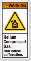 Helium Compressed Gas Can Cause Suffocation Warning Label