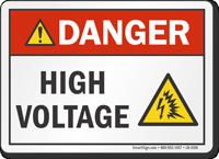 High Voltage ANSI Danger Label