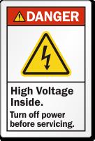 High Voltage Inside Turn Off Power Danger Label