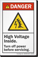 High Voltage Inside Turn Off Power ANSI Danger Label