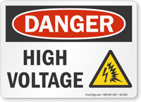 High Voltage OSHA Danger Label