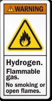 Hydrogen Flammable Gas, No Smoking ANSI Warning Label