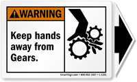 Keep Hands Away From Gears Label, Detachable Arrow