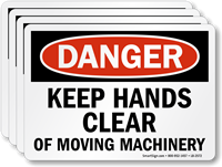 Keep Hands Clear Of Moving Machinery Danger Label