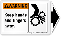 Keep Hands Fingers Away ANSI Warning Arrow Label