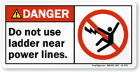 Do Not Use Ladder Near Power Lines Label