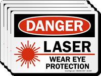 Laser Wear Eye Protection OSHA Danger Label