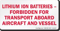 Lithium Ion Batteries Forbidden Label