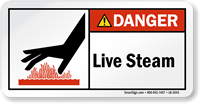Live Steam ANSI Danger Label With Graphic
