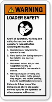 Know All Operations Loader Safety ANSI Warning Label
