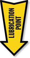 Lubrication Point Arrow Safety Label