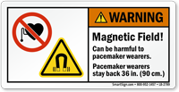 Magnetic Field Pacemaker Wearers Stay Back Label