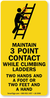 Maintain 3 Point Contact While Climbing Ladders Label