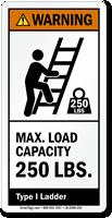 Max. Load Capacity 250 LBS. ANSI Warning Label