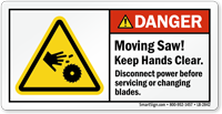 Moving Saw Keep Hands Clear Danger Label