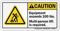 Multi-Person Lift Required ANSI Caution Label