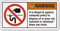 Illegal To Dispose Chemical Down Any Drain Label