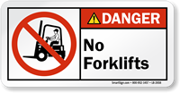 No Forklifts ANSI Danger Label With Graphic