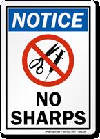 No Sharps Notice Label