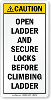 Open Ladder And Secure Locks Before Climbing Label