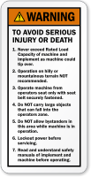 Avoid Serious Injury Death Operating Machine Warning Label