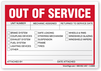 Unit Number, Mechanic Assigned Out Of Service Label
