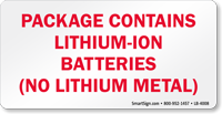 Package Contains Lithium-Ion Batteries Label