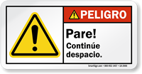 Pare Continue Despacio Spanish ANSI Peligro Label
