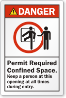 Permit Required Confined Space ANSI Danger Label