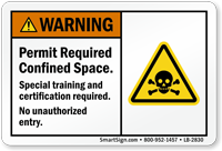Permit Required Confined Space Warning Label